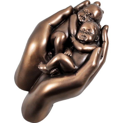 Babies In Hand Cold Cast Bronze Sculpture
